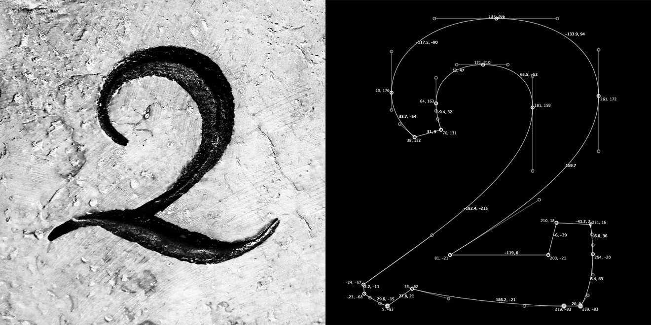 … serves as the basis for the cursive shape of the figure two. The retouched version of the engraving on the left; on the right the vector construction in FontLab. The visible coordinates for each Bézier node point show the difference between the number cut in real, organic stone and the technical interpretation of the shape with Bézier curves.