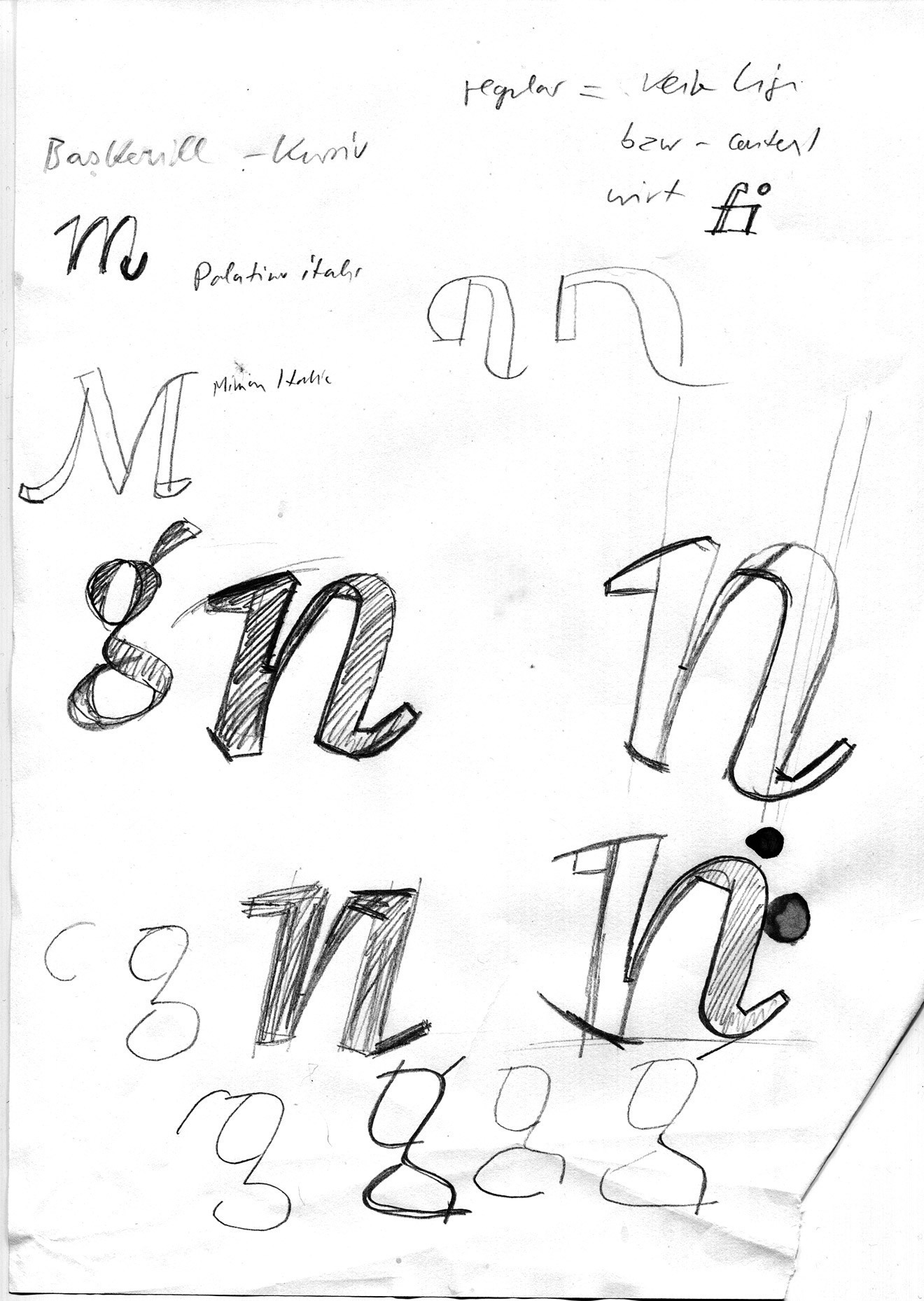 The first ideas for the Italic on paper. The primary purpose is not the beauty of the drawing, but visualising, recording and proving formal concepts.