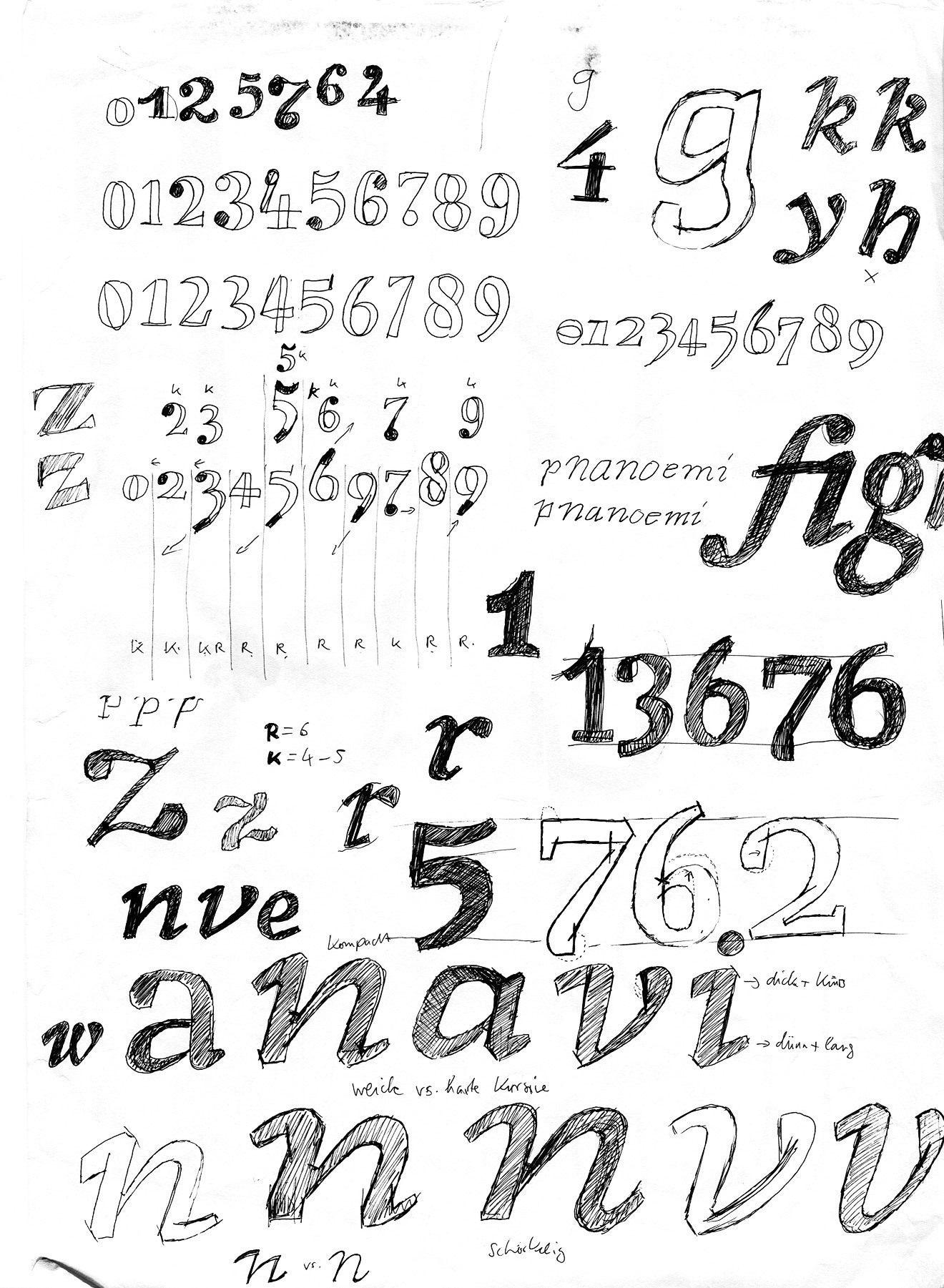 The product of a train journey from Kiel to the middle of Germany. The figures combine the dynamic shapes and open apertures of Renaissance faces with the static, closed model of Classicism. The aim for the letters was to meld the sharp, calligraphic italic shapes with a rounder and softer approach.