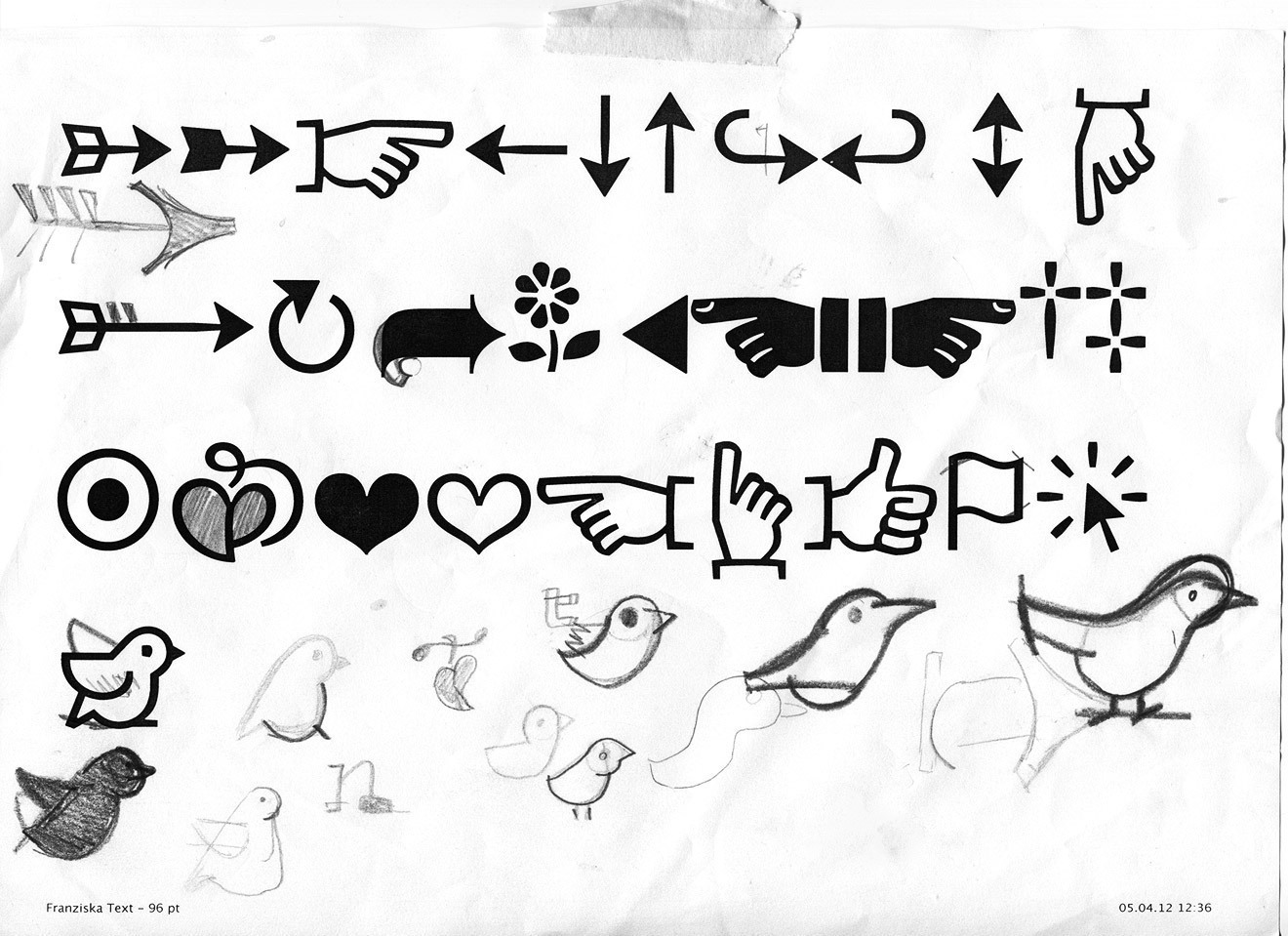 When you have drawn too many letters for too long, having fun with dingbats can be a welcome diversion. Translating icons like the printer's fist, the I-like-it thumb or the floral heart to contemporary forms that match serif characters can easily take up a day's work.