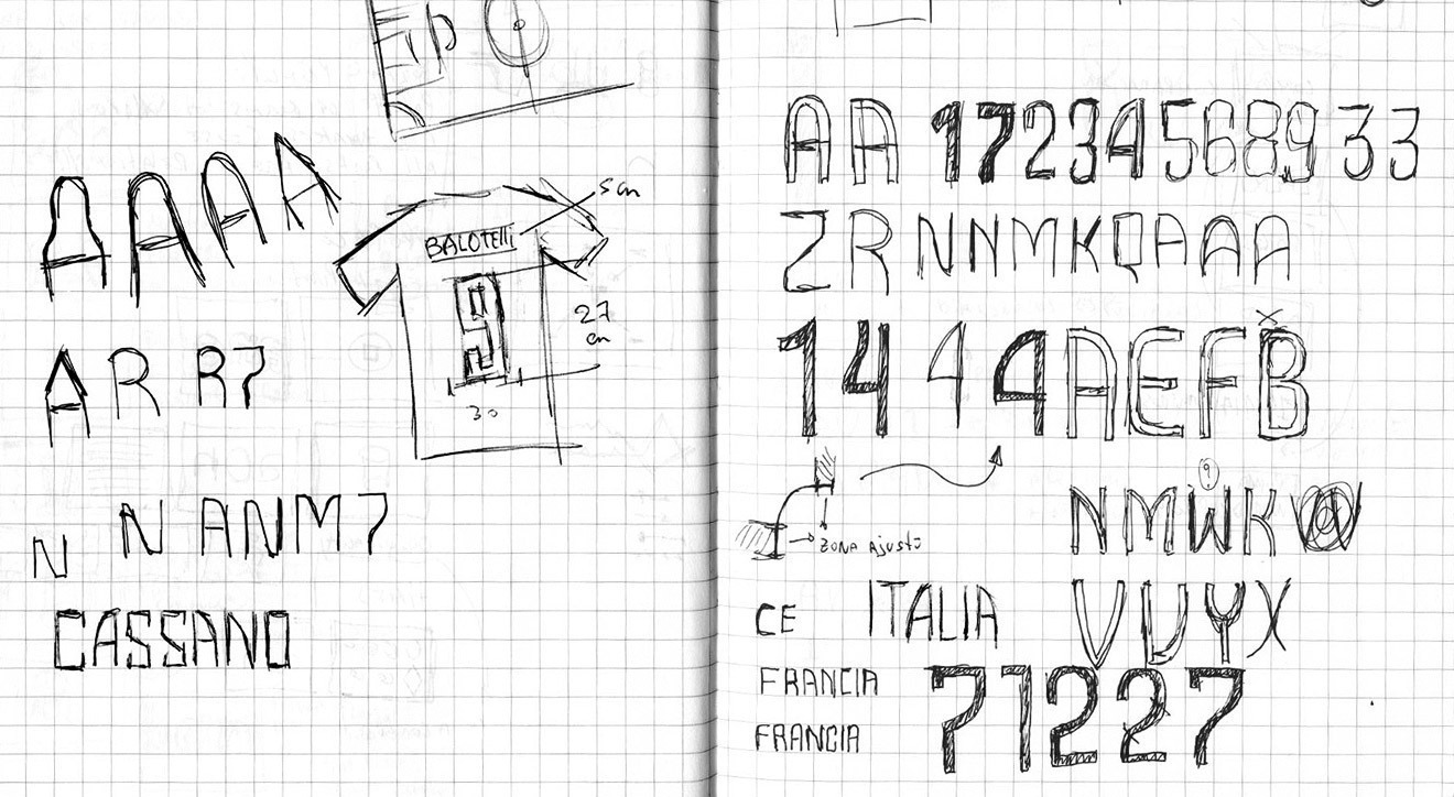 Sketches for Nature of Believing typeface, with research on alternate 'A' shapes and the numerals.