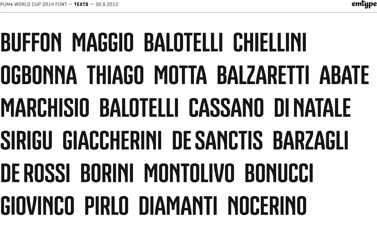 Names of the players in the Italian national team, set in the Nature of Believing typeface.
