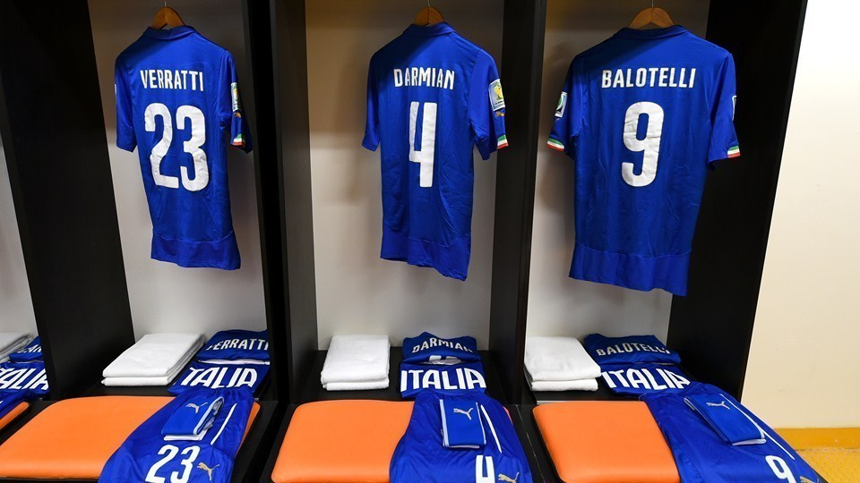 Home kit for the Italy national team at the 2014 FIFA World Cup.