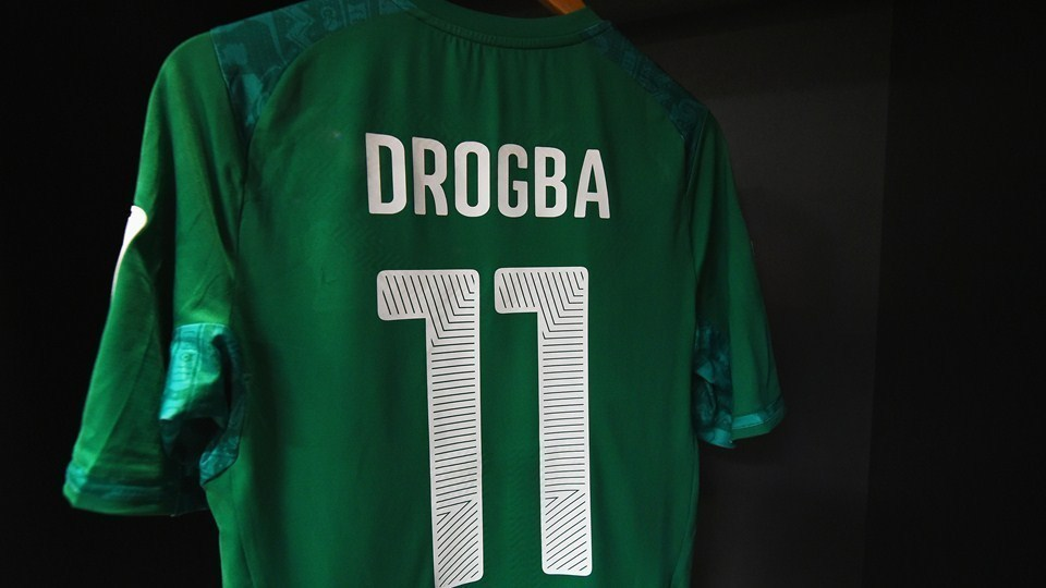 Away kit for Didier Drogba, forward striker in the Côte d'Ivoire national team at the 2014 FIFA World Cup.