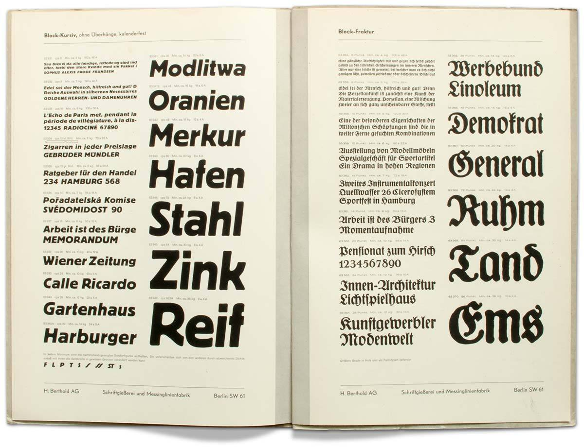 Berthold specimen no. 206 (1921) and 275 (1930s) of Hermann Hoffmann's Block. Weights at display here from top to bottom: Reklameschrift (meaning type for advertising; bold in appearance), schwere Block (heavy), Hochblock (with extreme ascenders), Graublock (cut in thin shaded lines), Block-Kursiv (italic) and Block-Fraktur (blackletter style). (With kind permission from the collection of Erik Spiekermann.)