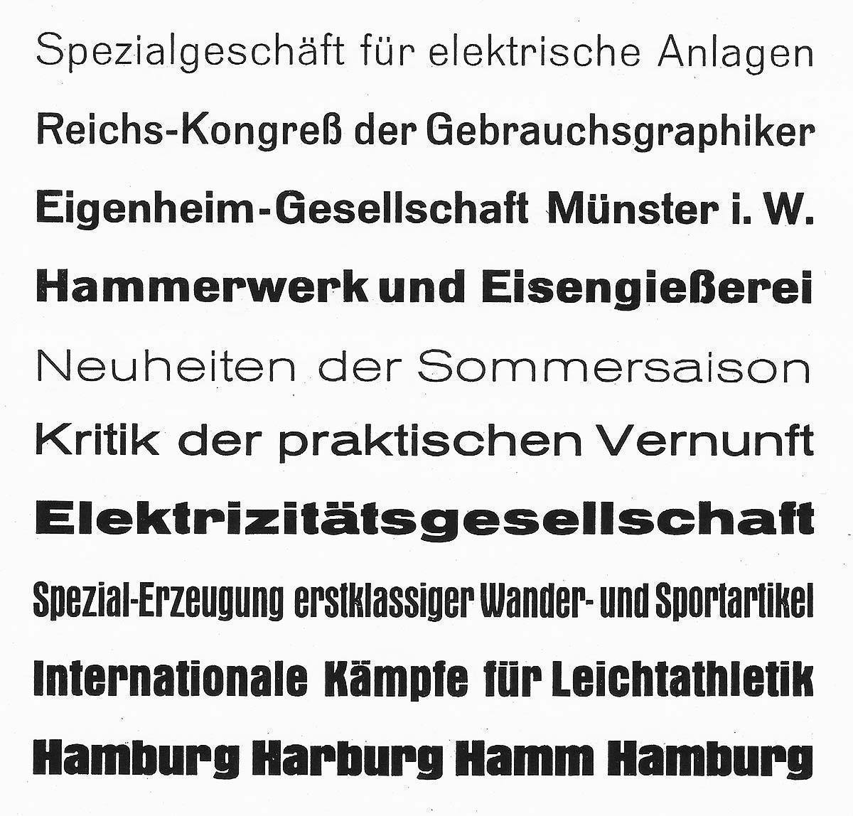 Examples of the Grotesk-Serie from a 1925 catalogue of available typefaces issued by the Schriftguß AG (formerly known as Brüder Butter) in Dresden-Neustadt. The overview displays the following weights from top to bottom: Planeta (light), Saturn (regular), Jupiter (medium), Neptun (bold), Uranus (light extended), Merkur (regular extended), Mars (bold extended), Sirius (compressed medium), Orion (compressed bold) and Pallas (compressed ultra bold).
