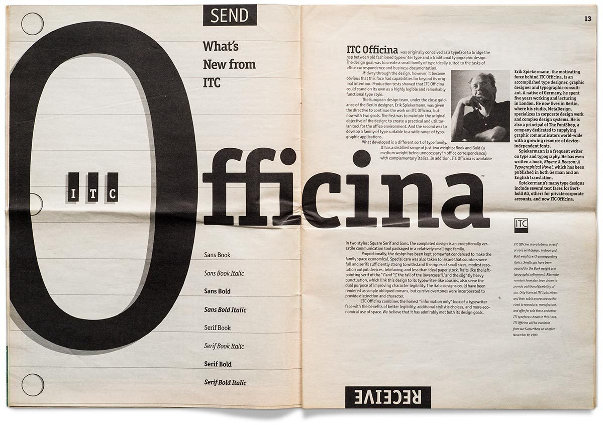 In 1989 the International Typeface Corporation released Erik Spiekermann's ITC Officina. A year later an introductory article was devoted to Officina in the foundry's own journal U&lc, vol. 17, no. 4, Fall 1990. (With kind permission from the collection of Erik Spiekermann.)