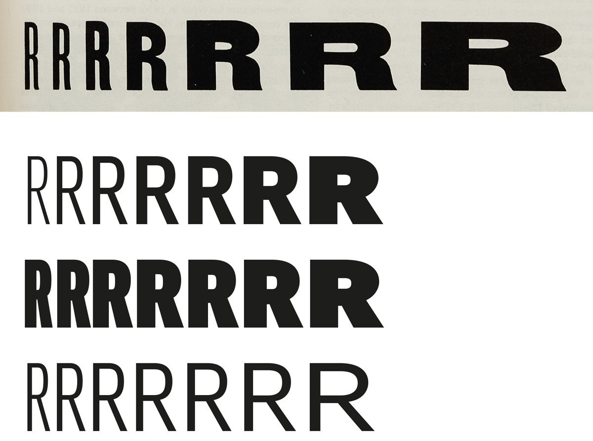 While early examples of width increase (seen in wood type by the 1880s as documented by Rob Roy Kelly in American Wood Type: 1828–1900, New York, 1977) also showed an increase of weight, Dziedzic optically maintains the stroke thickness in each width and vice versa.
