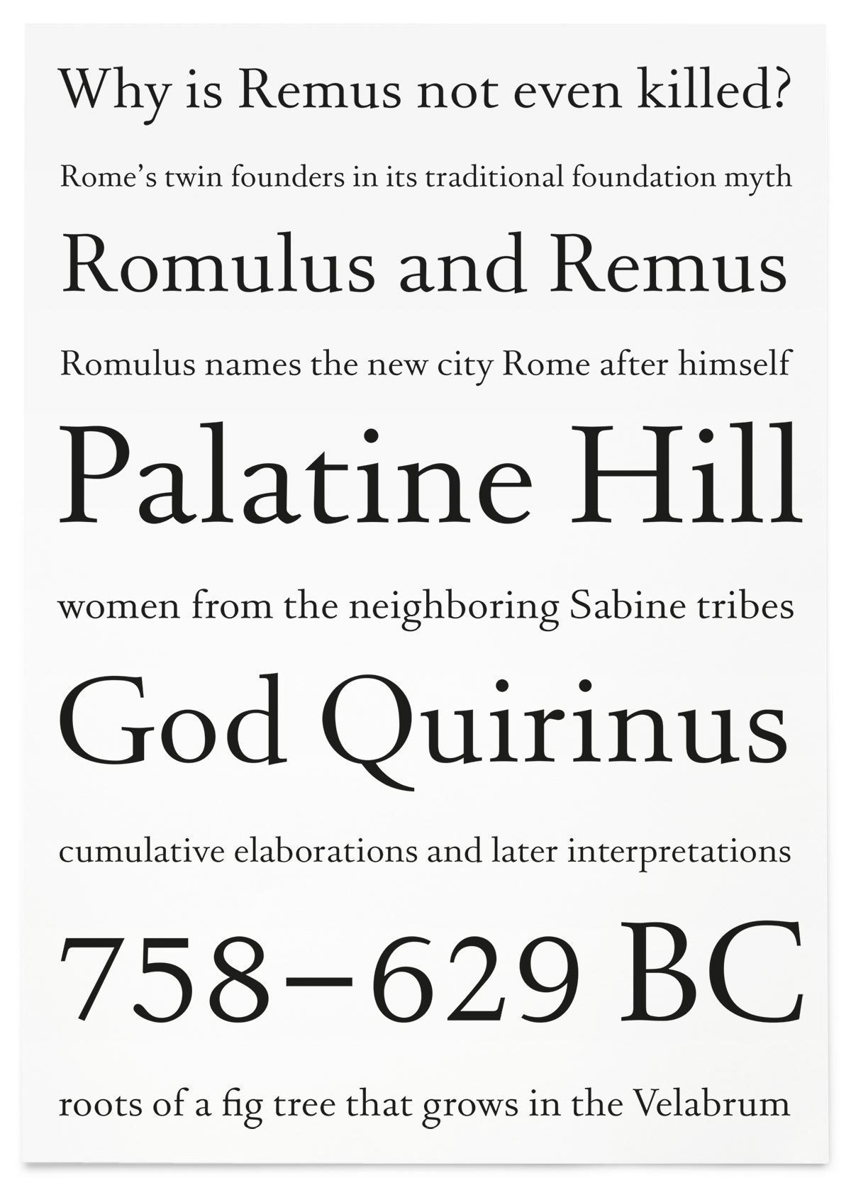Until today Jan van Krimpen's Romulus has not been made available digitally. This is an uncommercial revival by [Alexander Roth](/people/alexander-roth), designed in the [Type and Media](http://typemedia2012.com) Masters course at the [Royal Academy of Art](http://www.kabk.nl/), The Hague in 2012.