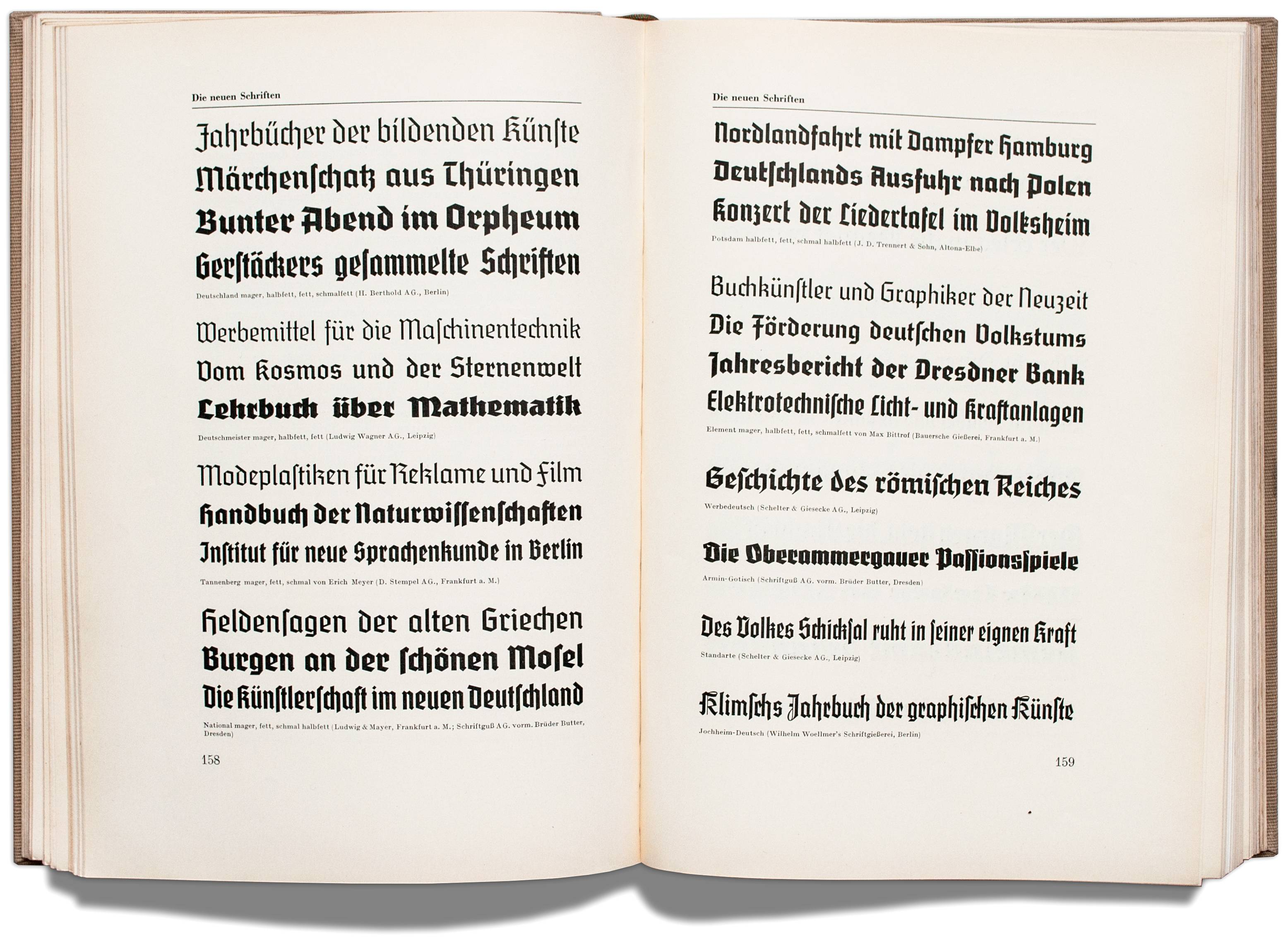 By 1935 the visual culture of the new political movement in Germany had a rapid and profound influence on the industry: a conglomeration of blackletter faces dominates the type specimen section in *Klimschs Jahrbuch* vol. 28. The typefaces on display are Deutschland (Berthold), Deutschmeister (Ludwig Wagner), Tannenberg (Stempel), National (Ludwig & Mayer and Schriftguß), Potsdam (Trennert & Sohn), Element (Bauer Type Foundry), Werbedeutsch (Schelter & Giesecke), Armin-Gotisch (Schriftguß), Standarte (Schelter & Giesecke) and Jochheim-Deutsch (Wilhelm Woellmer)—all major foundries offered types in favor of the new regime. (With kind permission from the collection of Erik Spiekermann.)