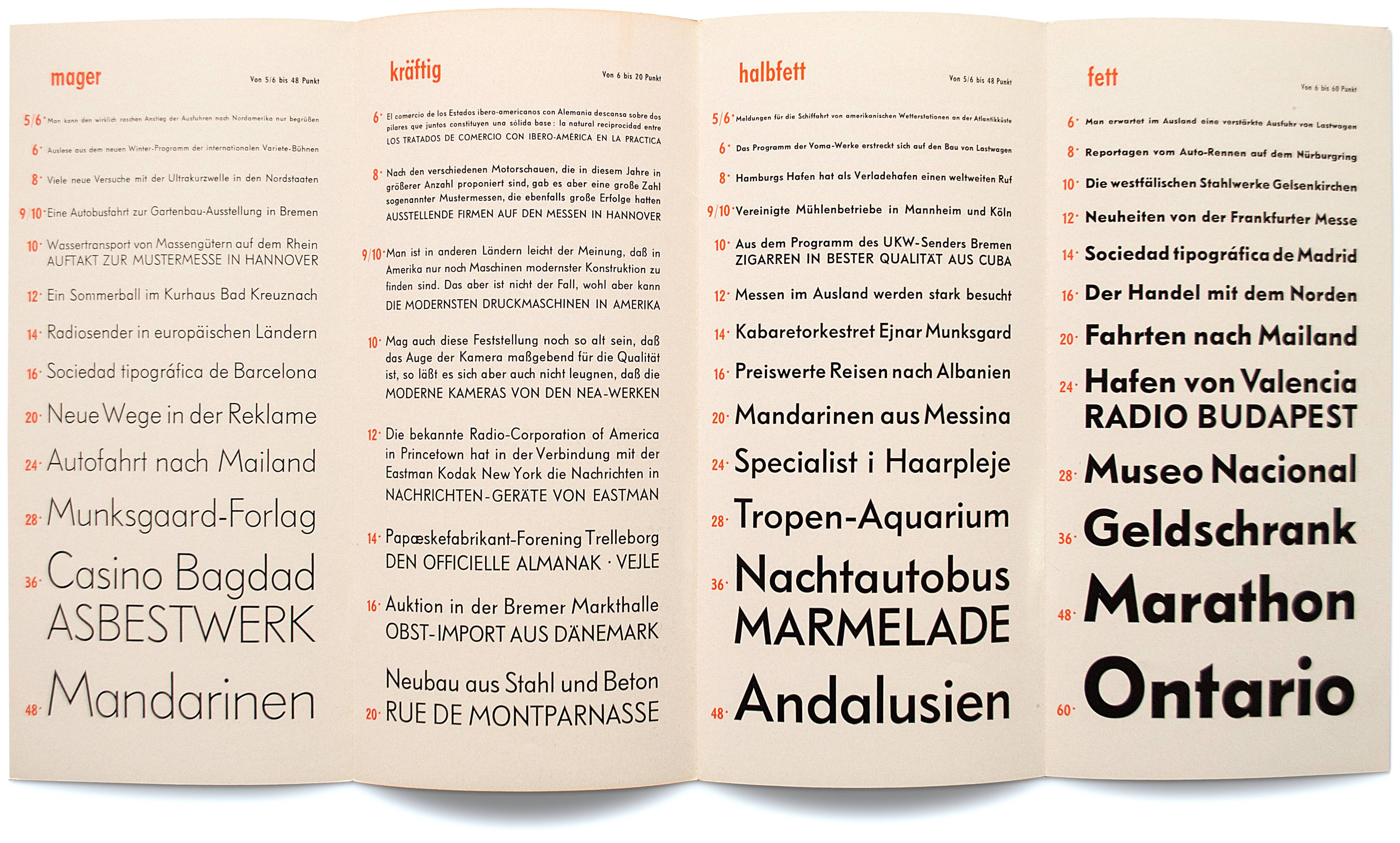 Equipped with a two-story 'a' as well as flat instead of pointing letter shapes on 'A', 'M', 'N', 'V' and 'W', Genzsch-Grotesk was born as Friedrich-Bauer-Grotesk's sister. Both typefaces were available and advertised simultaneously as seen here in two fold-out specimens. (With kind permission from Klingspor-Museum, Offenbach am Main.)