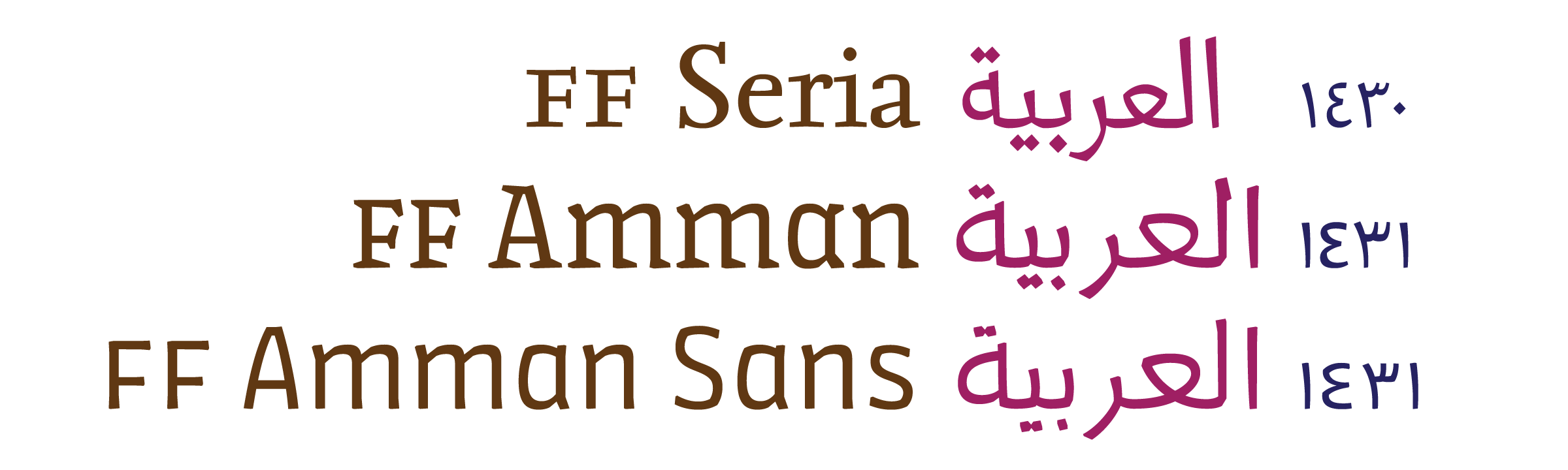 The first three FontFont families available in both Latin and Arabic – FF Seria, FF Amman and FF Amman Sans.