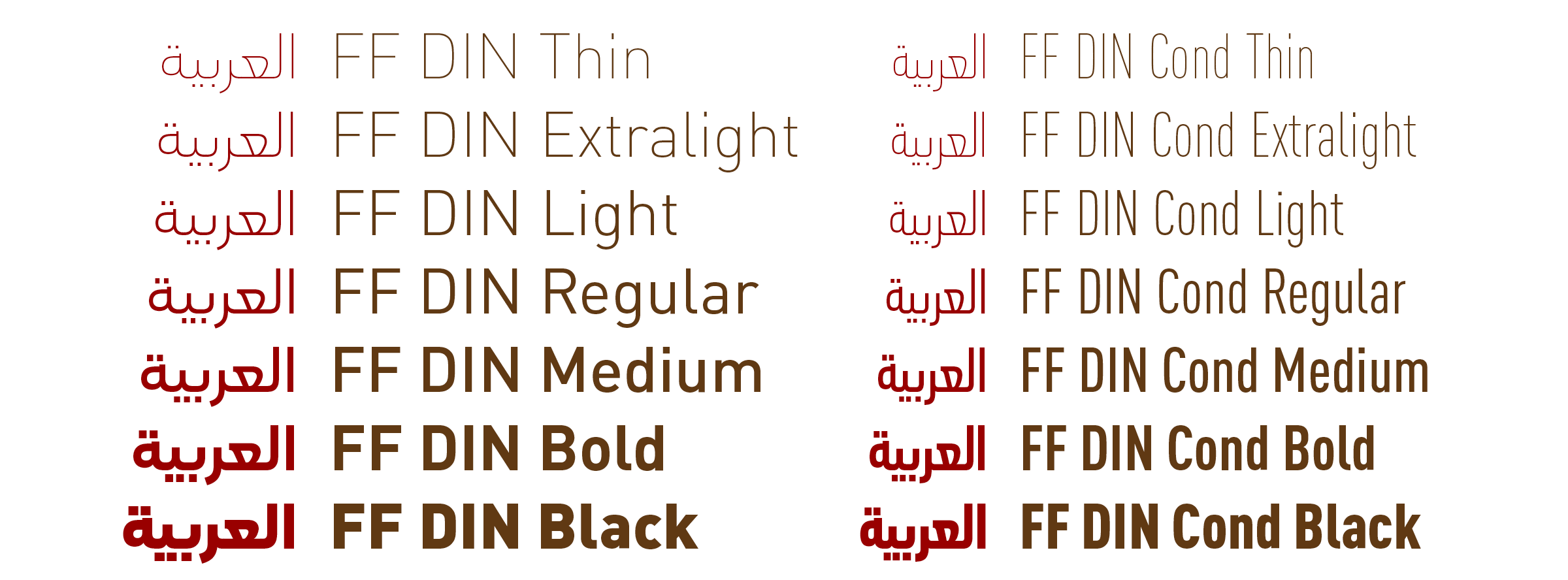 All the upright weights of FF DIN have been expanded to support the Arabic script.