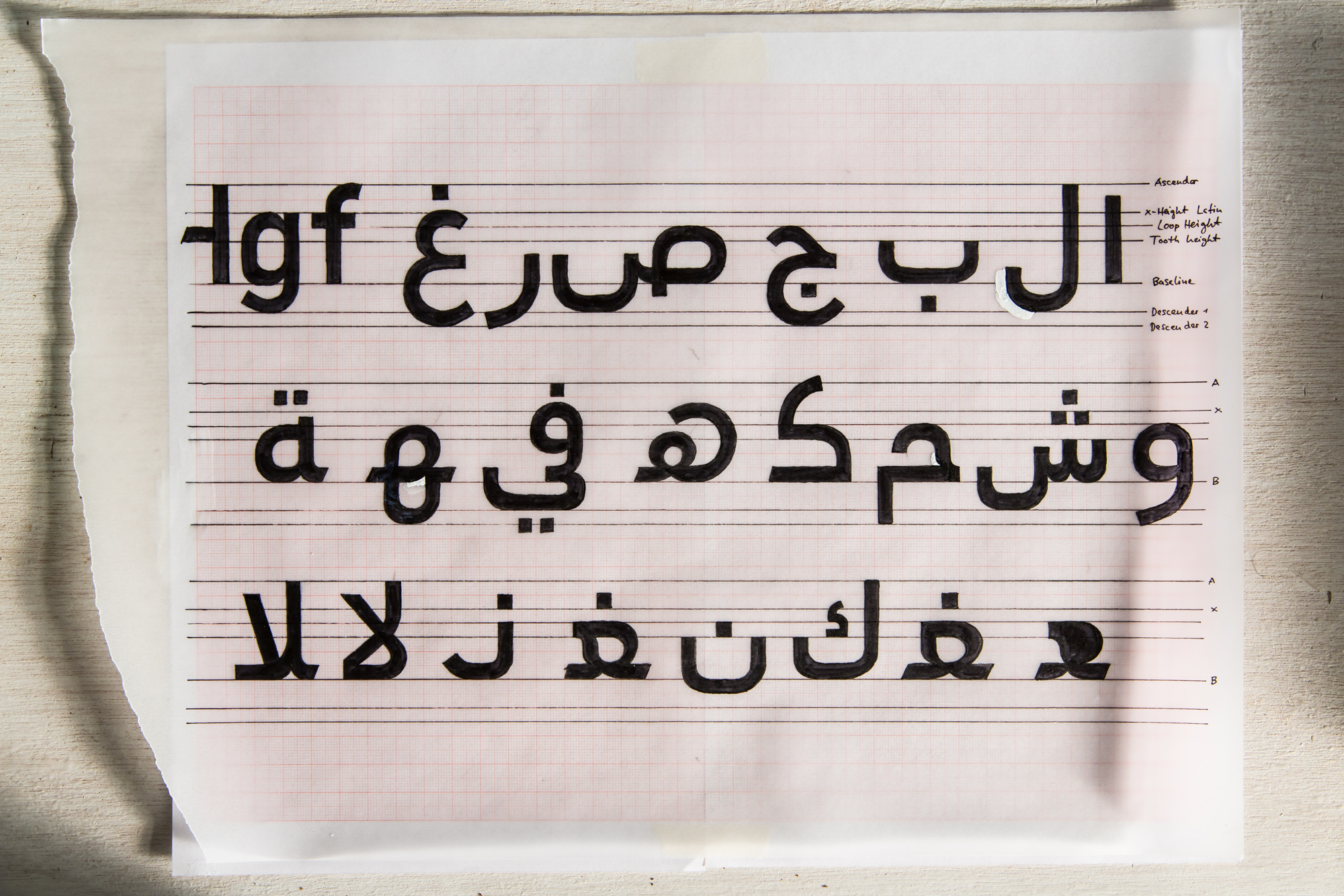 Early family and letterform study, showing FF DIN Arabic's relationship to the Latin baseline
