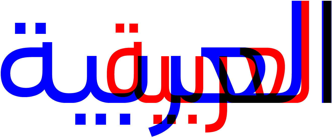 Normal (blue) and condensed (red) Arabic shapes superimposed