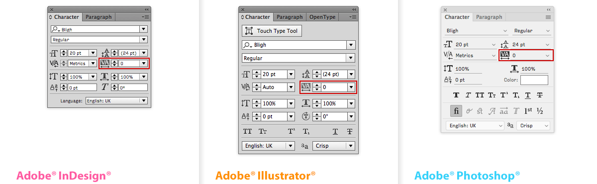 The Tracking dialogue in the Character window, from left to right in Adobe® InDesign®, Illustrator®, and Photoshop®. Note how the icon differs from the Kerning dialogue: the two letters are highlighted to indicate a sequence, instead of the angled beam between the two individual letters in the icon for Kerning.