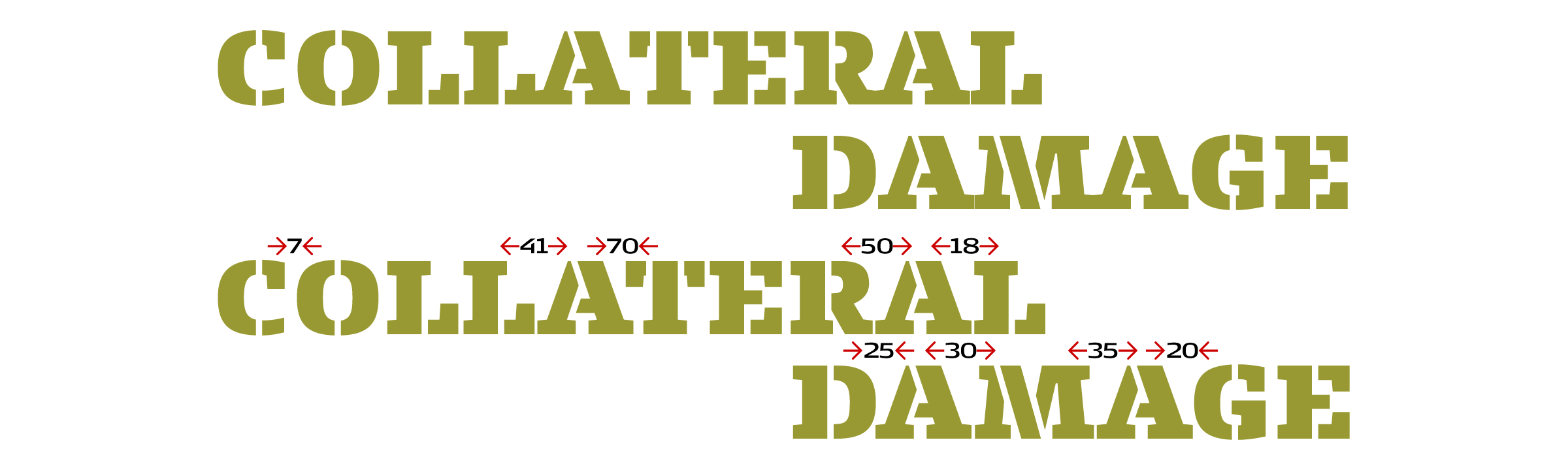 In the top line the built-in kerning was disabled in the brand new [FF Signa™ Slab Stencil](/families/ff-signa-slab-stencil). When set on a straight line, the words for the spoof logo are perfectly spaced in the bottom line, thanks to the careful kerning by [Ole Søndergaard](/designers/ole-sondergaard).