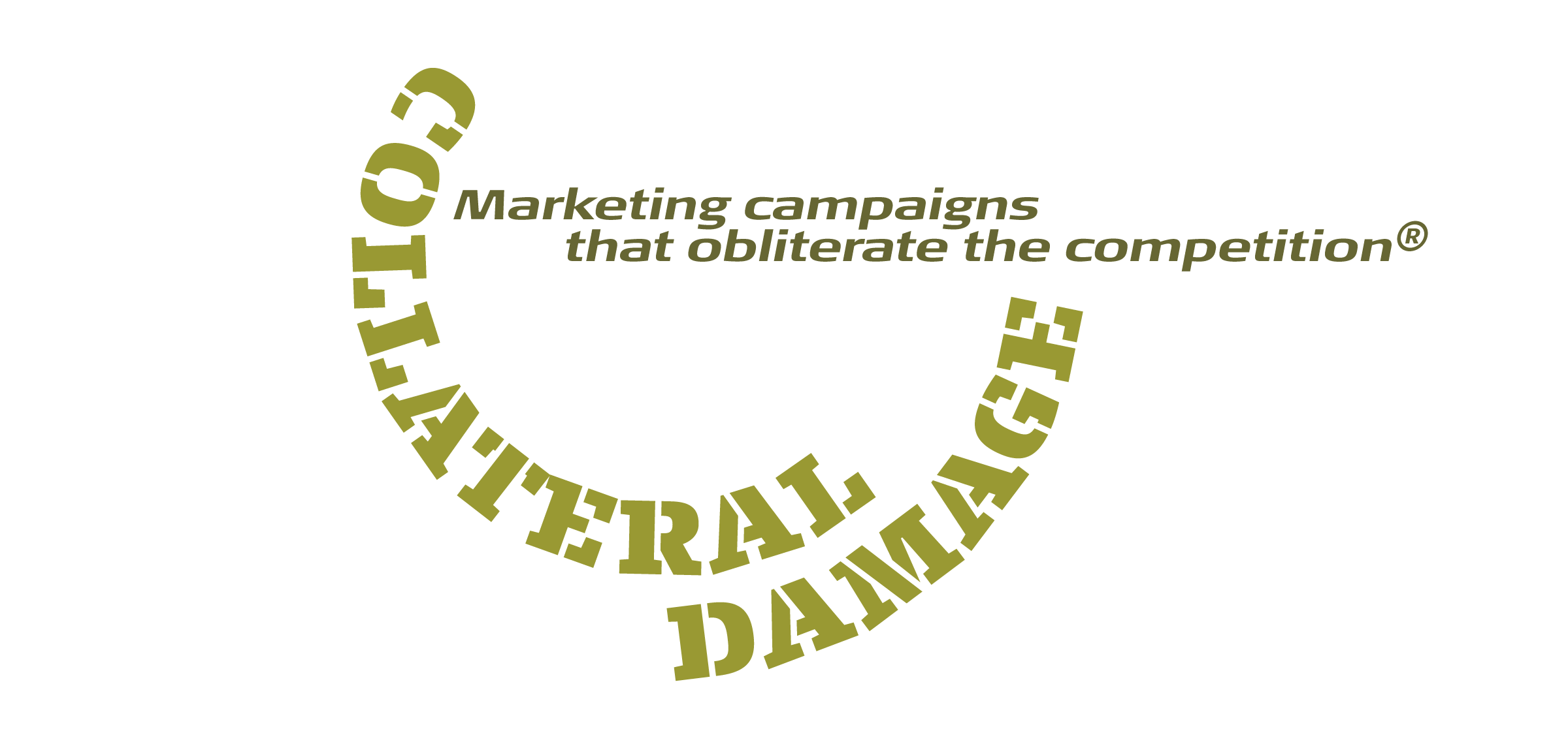 The finished spoof logo with custom-kerned text in circles. Because personal taste also plays a role in spacing and kerning, different people may come up with different solutions.