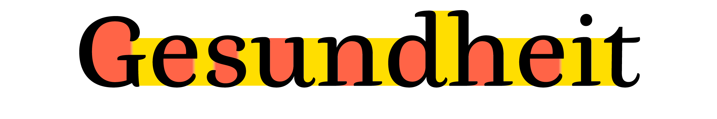 The white between glyphs (here in yellow) in [César Puertas](/designers/cesar-puertas)' [Buendia](/content/best-fonts-of-2015) is balanced against the white inside the glyphs (here in red). The _mathematical_ distance between consecutive glyphs varies quite a bit – compare for example the distance between the extreme points of the 'e' and 's' with the outstroke of the 'd' that almost touches the bottom left serif of the 'h'. However the _optical_ distance has been optimised to look perfectly balanced.
