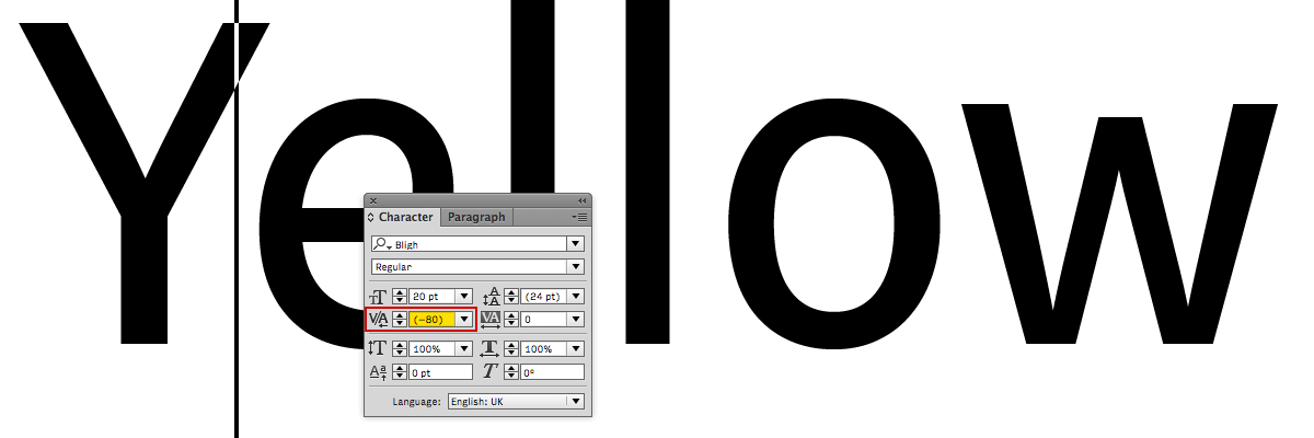 The Kerning dialogue in the Character window in Adobe® Illustrator®. When inserting the cursor between two characters the kerning dialog shows how much kerning was added or subtracted. The parentheses designate that the kerning value comes from the built-in kerning table.