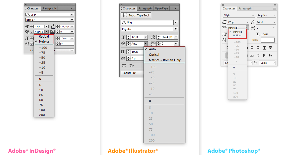 The Kerning dialogue in the Character window, from left to right in Adobe® InDesign®, Illustrator® and PhotoShop®. The Adobe apps offer two settings for automatic Kerning: Metrics/Auto and Optical. The setting Metrics – Roman Only in Adobe Illustrator is a variant of the Auto setting, specifically for text that mixes Latin with CJK text.