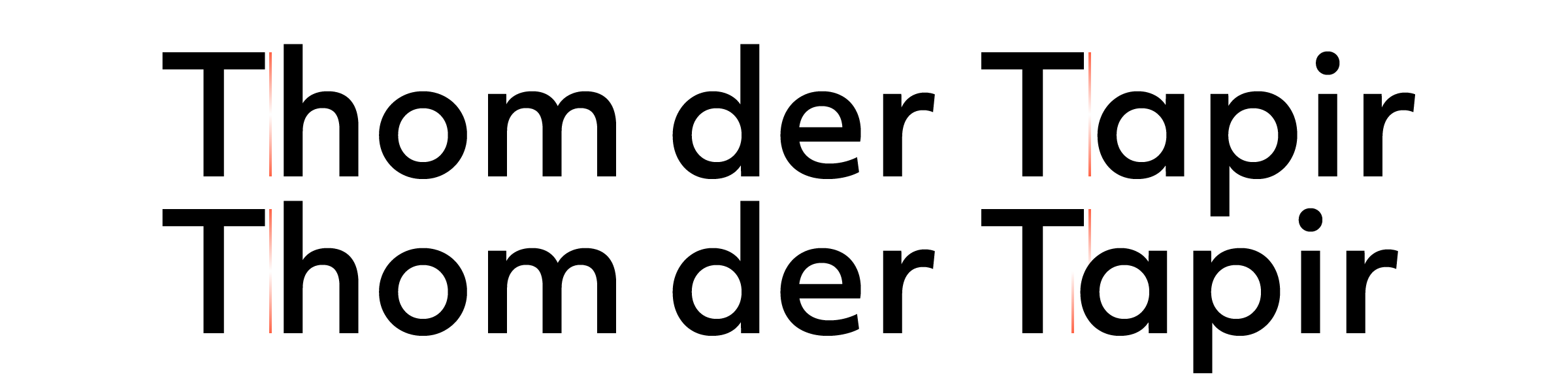 Even with the most careful spacing you cannot provide a solution for every single character pair. To illustrate this, kerning was disabled in the top line. While the 'Th' pair is fine, the lack of [ascender](/glossary#ascender) in the 'Ta' pair creates an unsightly gap between the two characters. Activating the kerning in the bottom line makes the bounding boxes overlap, allowing the 'a' to slide underneath the overhanging arm of the 'T'.