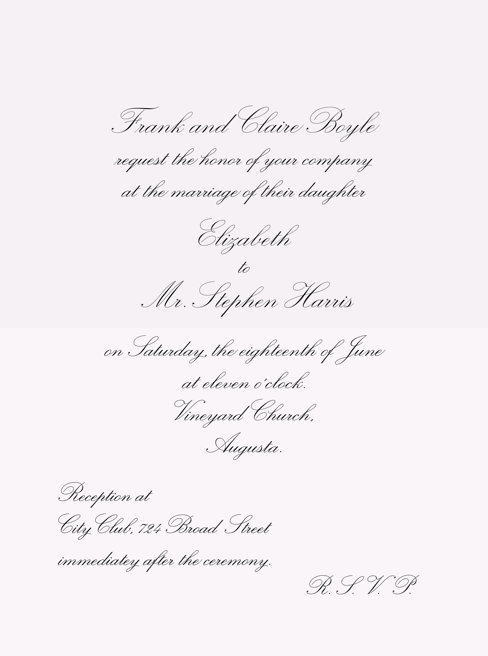 The script face used in the above samples is Novia, which is also featured in Alexander Roth's Script Fonts for Wedding Invitations fontlist, ...