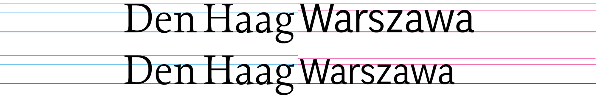 When comparing and mixing typefaces, their x-heights should be matched. Although Petr van Blokland's Proforma and Łukasz Dziedzic's FF Good® are set in the same size in this example (first line), they don't appear even. The latter has a much larger x-height, therefore it needs to be decreased in size just slightly (second line). Lowercase letters dominate the text and therefore define the appearance of a typeface.