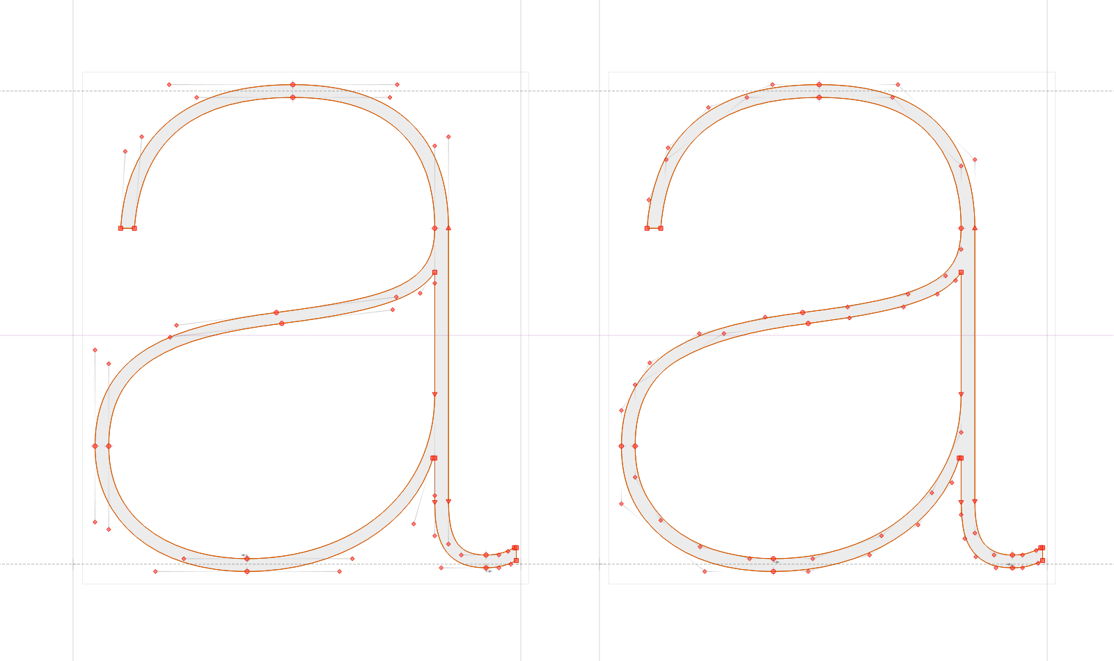 Side by side: An '**a**' from Christian Schwartz's Neue Haas Grotesk in PostScript and TrueType outlines made with 55 and 79 nodes, respectively.