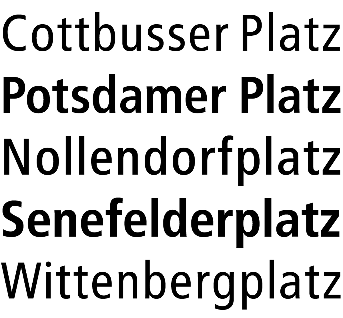 "The various styles of FF Transit Regular from top to bottom: FF Transit Print, Front Positive, Front Negative, Back Positive and Back Negative. The ""negative"" weights should only be used in reverse, i.e. white on black, but they are displayed as ""positives"" for better comparison of the stroke weights."