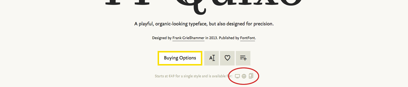 The icons on the line just below the Buy button give a quick overview of which licenses and formats are available.