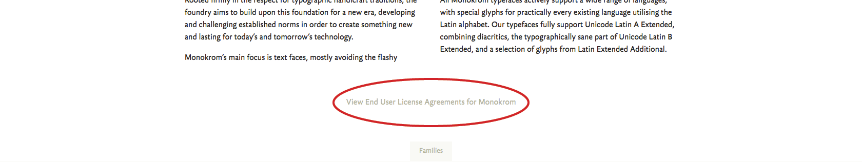 You can find a link to a foundry's End User License Agreement under the description on its Foundry page.
