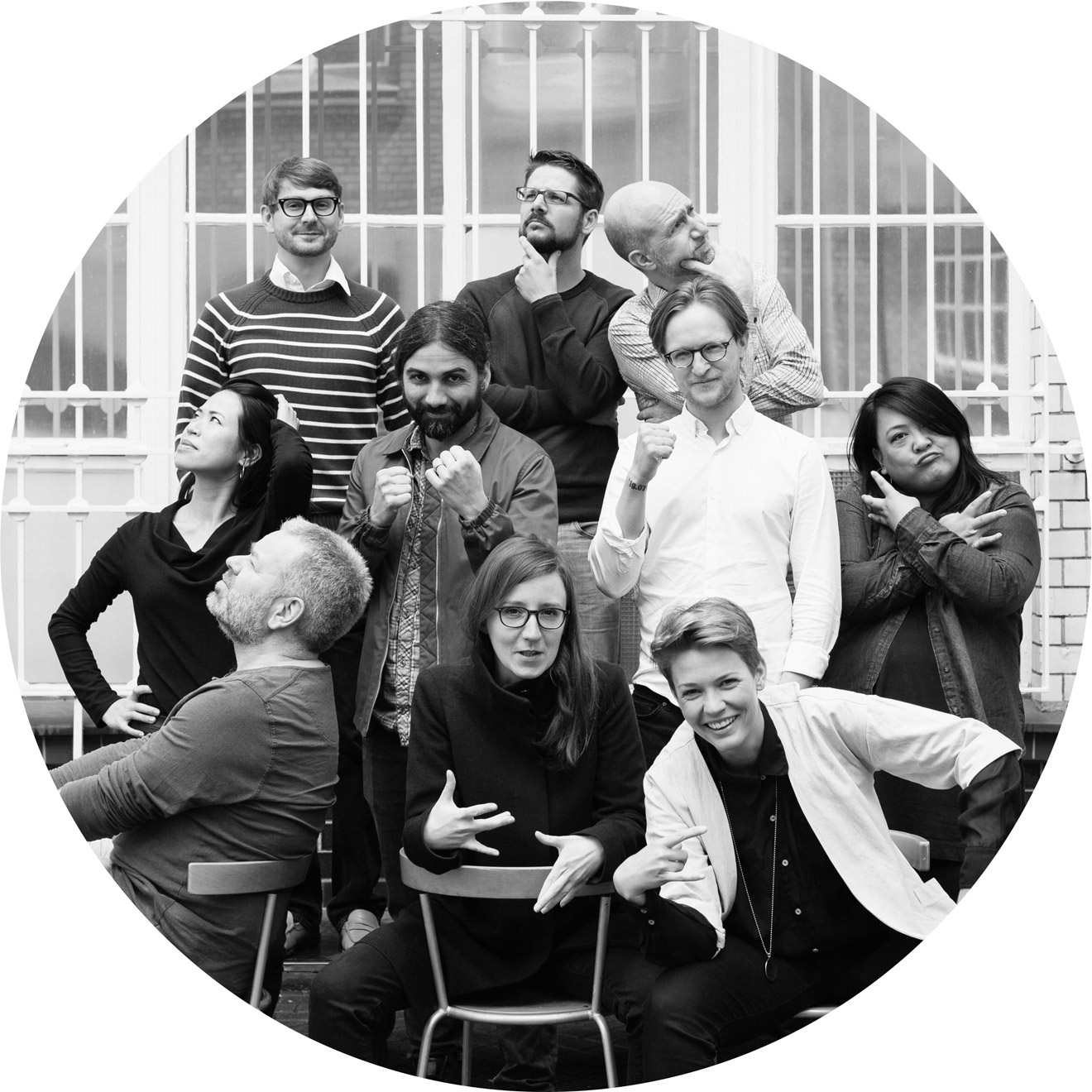 The FontShop Team. From left to right, top row: David Sudweeks, Ivo Gabrowitsch, Yves Peters; middle row: Angie Poon, Fabian Posada, Alexander Roth, Theresa dela Cruz; bottom row: Nils Töpfer, Jana Kühl, Alexandra Schwarzwald.