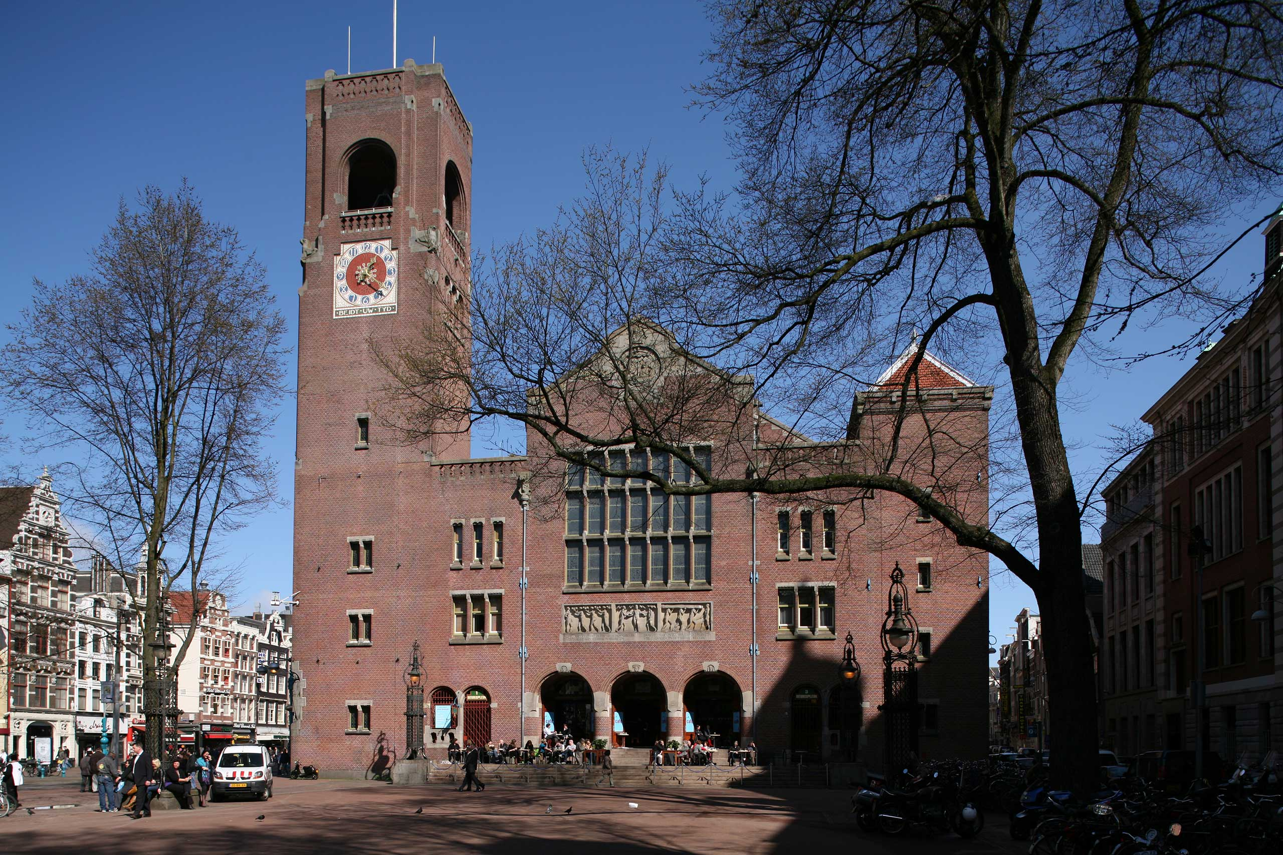 The Beurs van Berlage, built by Dutch architect and urban designer Hendrik Pieter Berlage, once housed the Amsterdam Stock Exchange. The prominent bell tower carried the 'Beursbengel', the exchange bell. Its destination changed to being a 'public palace' in 1985.