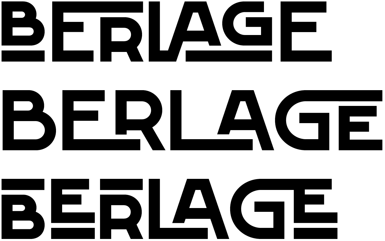 The round characters in FF Berlage Burcht design are circular instead of based on a rectangle with rounded corners, and the horizontal middle bars are low. Both variants feature the same capital ligatures and nested capitals.