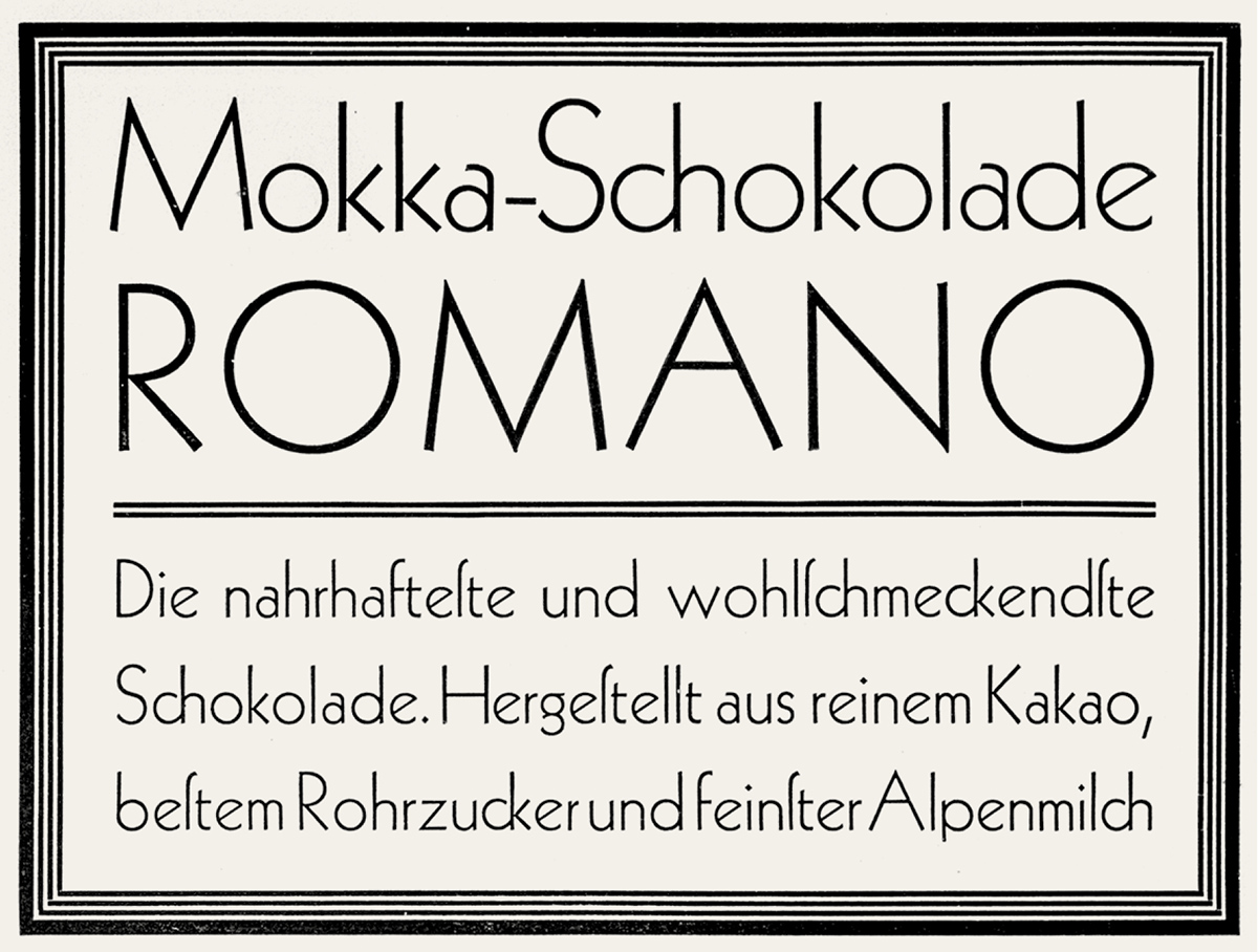 **First release.** In 1927 the Klingspor Type Foundry released Rudolf Koch's original Kabel in just one weight. Note the short head on the lowercase _a_. (_Klimschs Jahrbuch,_ vol. 21, Frankfurt/Main 1928, from the collection of Erik Spiekermann)