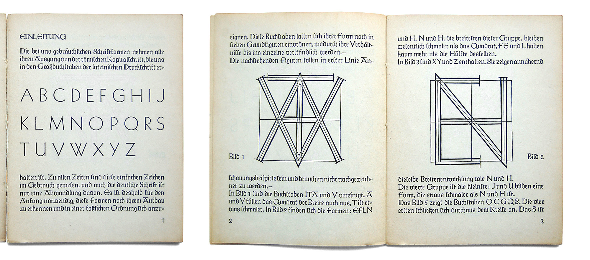 "**Teaching material.** In a small lettering publication issued in 1930, Koch re-published the diagrams and suggested that they ""shall serve as examples and need not be traced"". (Rudolf Koch: _Das Schreibbüchlein. Eine Anleitung zum Schreiben,_ Kassel 1930, from the collection of Thomas Maier)"