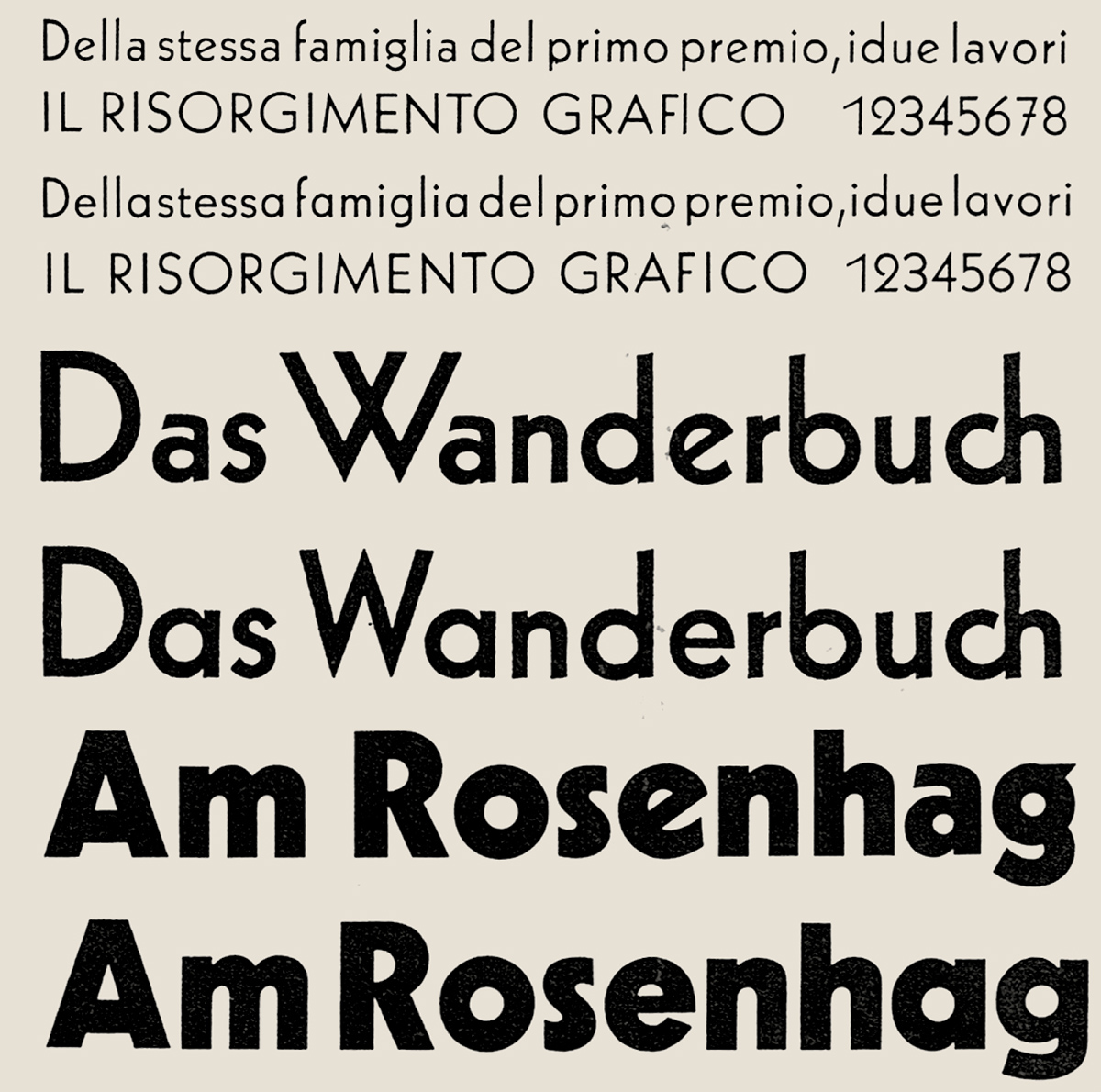 **First redesign.** Due to the assumption that some of Kabel's key characters _(W, a, e, g)_ were an obstacle to the typeface's success, Klingspor released _Neu-Kabel_ with several alternate letters. This overview shows a comparison made by Walter Tracy between Kabel light, medium and bold and the respective weights in Neu-Kabel. (Walter Tracy: _Letters of credit. A view of type design,_ London 1986, p. 171, from the collection of Toshiya Izumo)