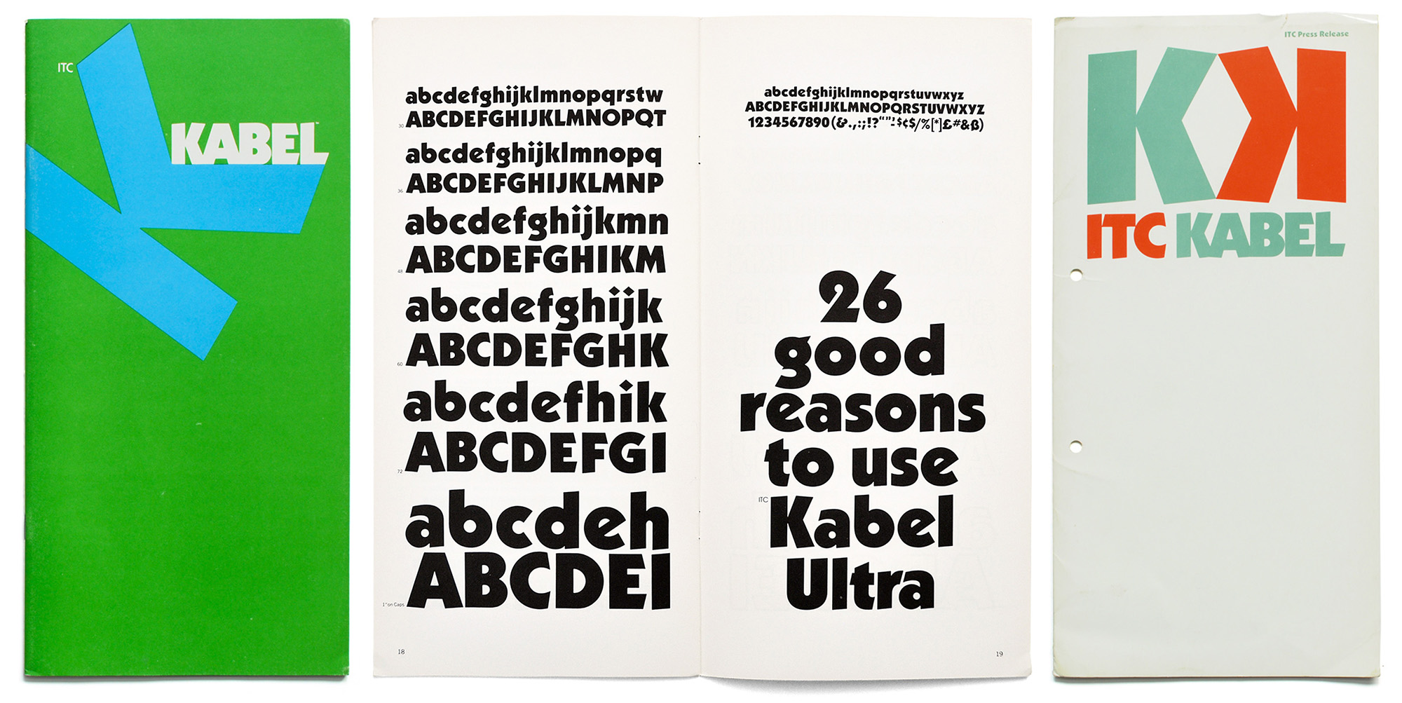 "**The most popular Kabel redesign in phototype.** Under special license from Stempel, Victor Caruso redesigned Kabel for the International Typeface Corporation, released in 1975. Caruso equipped ITC Kabel with new weights, such as _Ultra, Outline_ and _Contour_. The most noticable change in letter proportions is the enlarged x-height, ""a style that is so popular today"". (Quote from the specimen, International Typeface Corporation: _ITC Kabel,_ 1976, from the collection of Erik Spiekermann)"