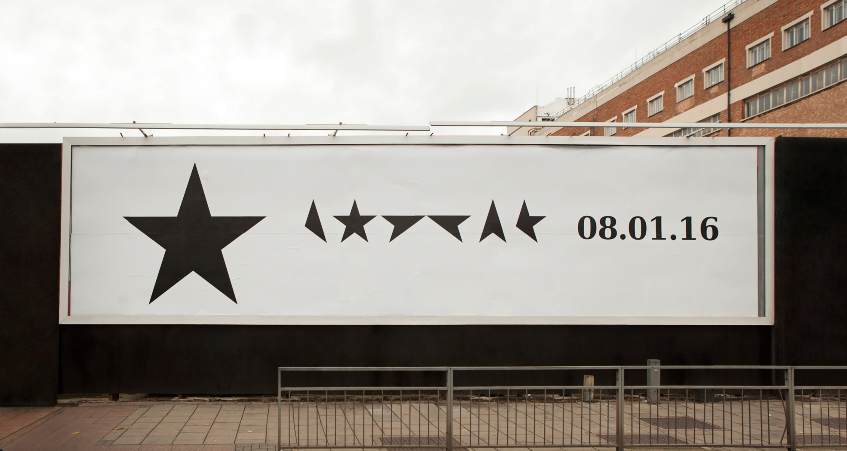 First billboard announcing the album release of David Bowie's ★ (Blackstar) in 2016, designed by Barnbrook. (Image source: [barnbrook.net](http://www.barnbrook.net/work/david-bowie-blackstar/))