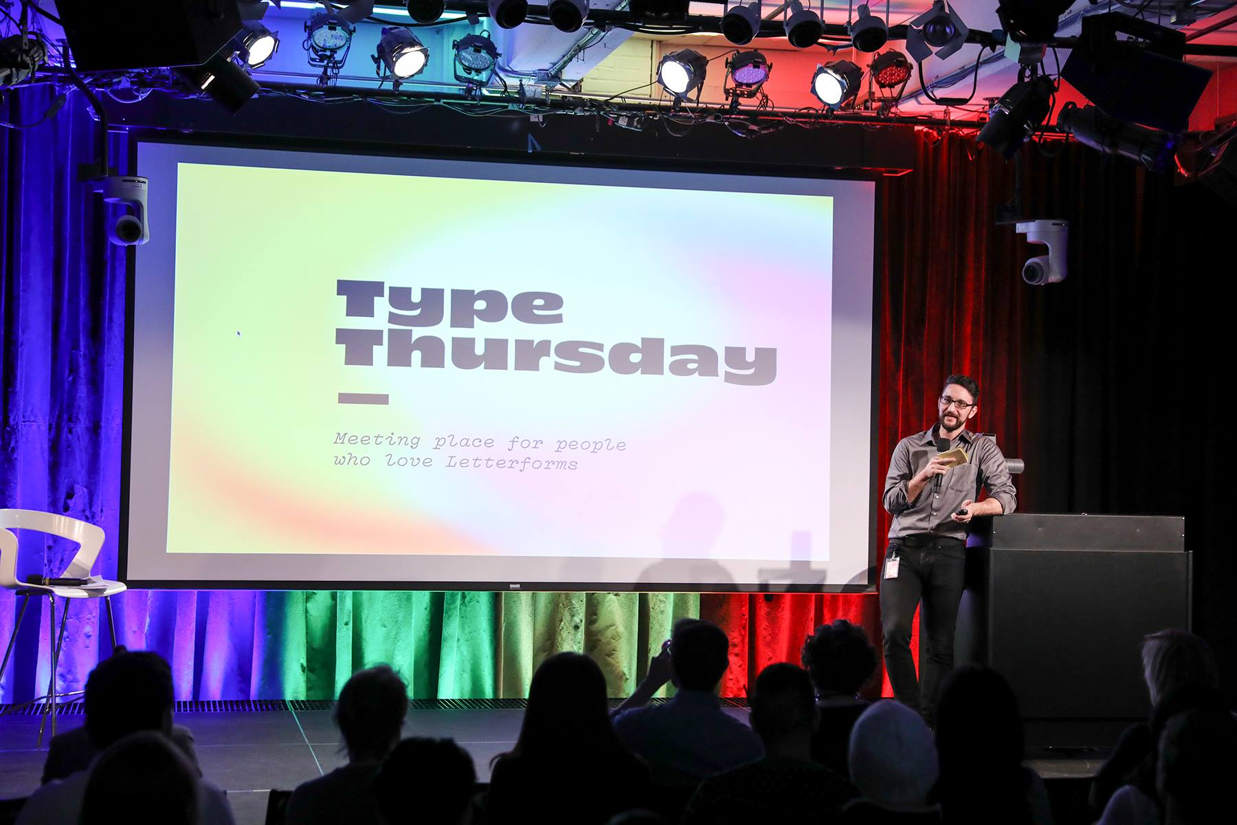 Thomas Jockin with the introduction and housekeeping notes at Type Thursday NYC. Photo by [Julie Thompson](https://www.instagram.com/juliebthompson9/)