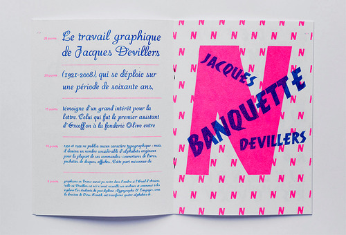 Interior shots of Roxane's digital revival of Jacques Devillers' typefaces.