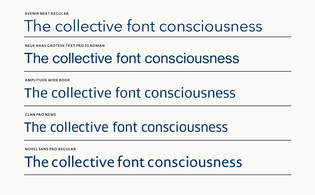 Each of the five sans serif fonts has its own charisma.