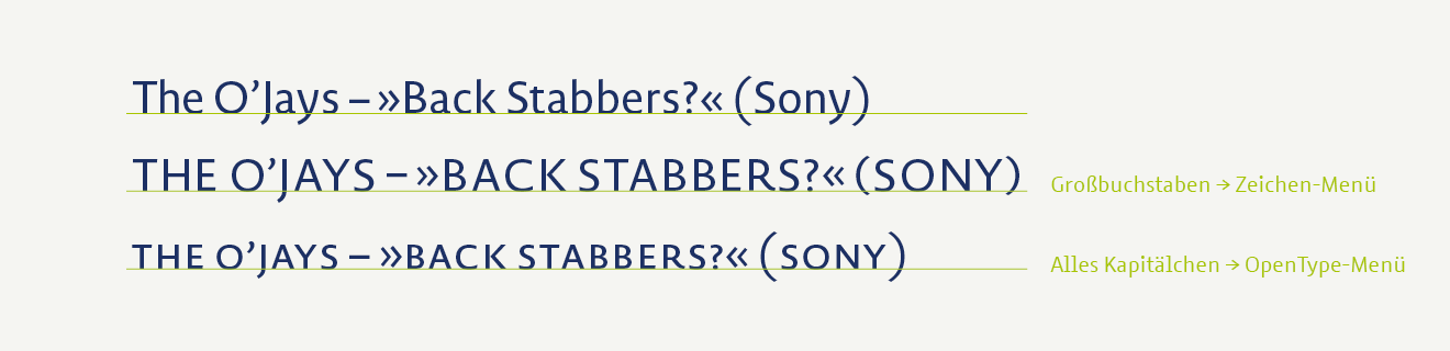 Extra punctuation marks are very useful for setting text in uppercase and small caps, as offered by Novel Sans Pro.