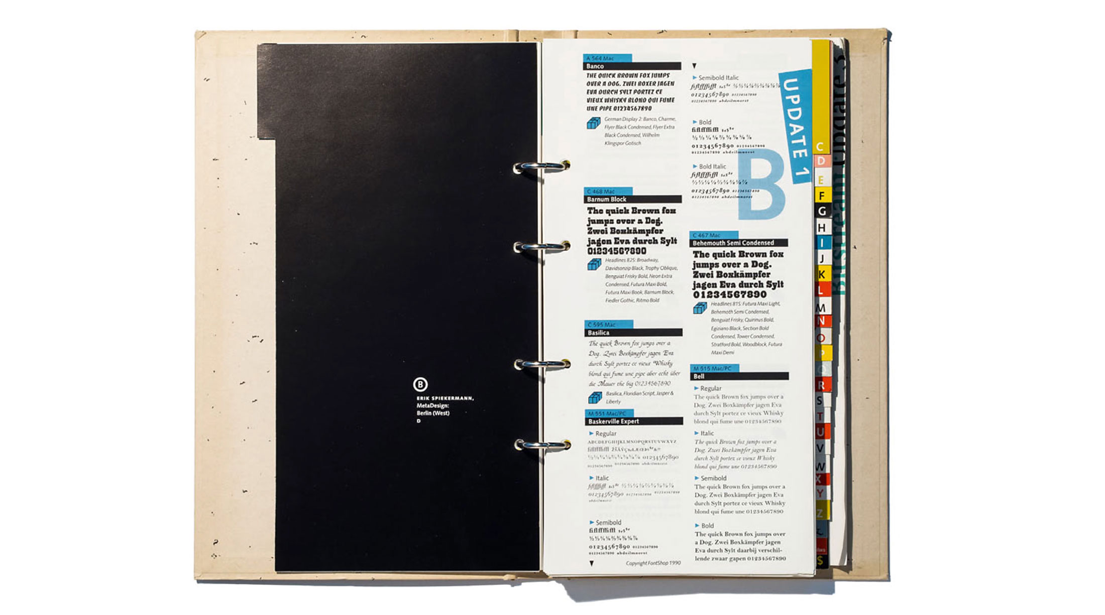 The first FontShop catalogue: a ring binder made of GDR cardboard, which was able to contain the quarterly font updates.