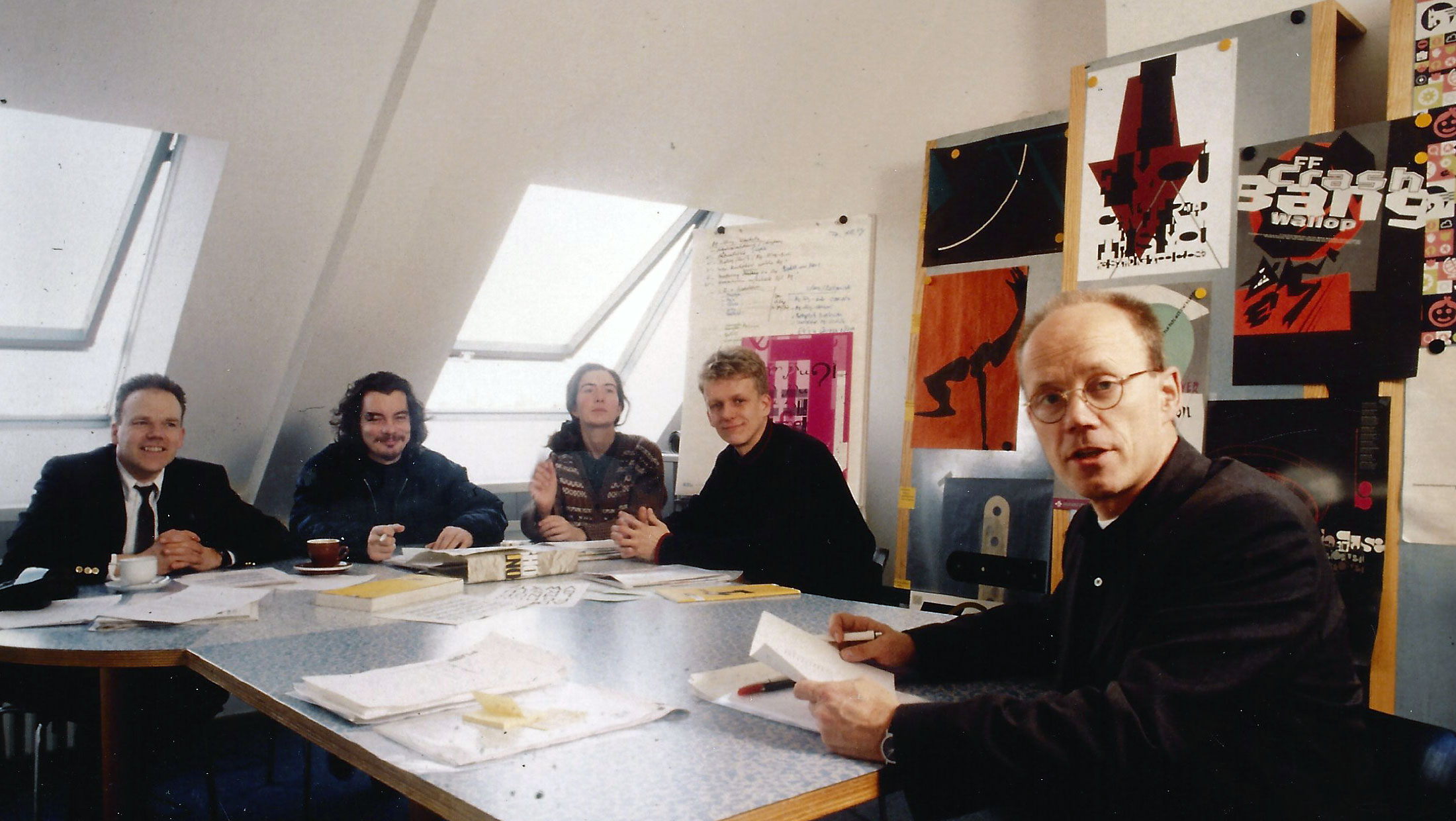 The FontFont typeboard in autumn 1994, from right to left: Erik Spiekermann, Erik van Blokland, Beth Russell, Neville Brody and Jürgen Siebert.
