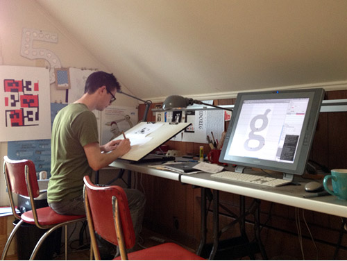 Cyrus Highsmith in his workspace.