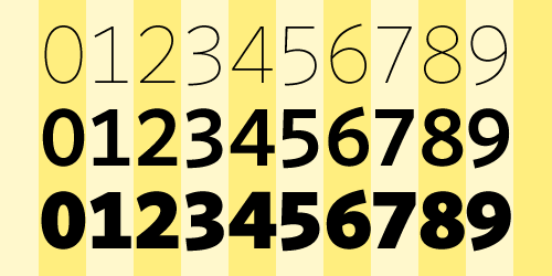 Switching weights in a typeface where weight duplexing is applied to the figures ensures they line up in vertical columns.