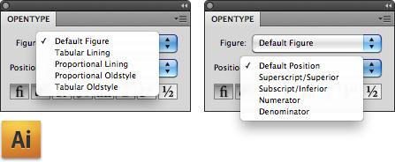 The OpenType window in Adobe Illustrator CS4.