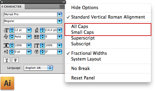 The Character window with fold-out menu in Adobe Illustrator CS4.